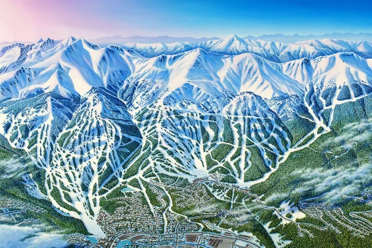 James Niehues' map of Breckenridge, an expansive resort in Colorado. The watercolorist concedes that he has never set foot on its peaks.