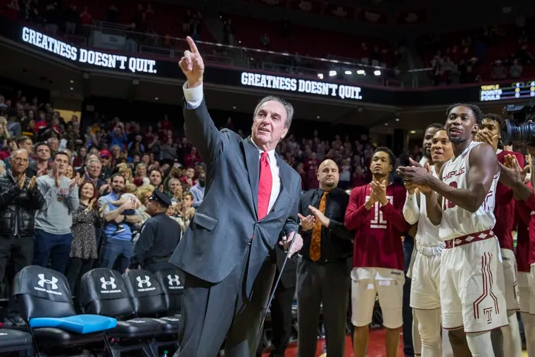 Temple head coach Fran Dunphy acknowledges the crowd at his final game at the Liacouras Center, a huge win over Central Florida on March 9.