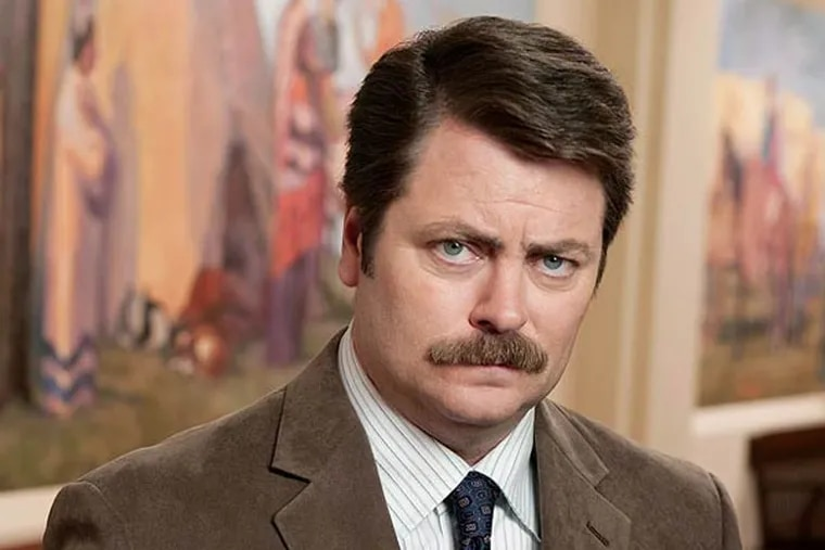 Nick Offerman plays Ron Swanson on NBC's 'Parks and Recreation' (Photo: NBC/Mitchell Haaseth)