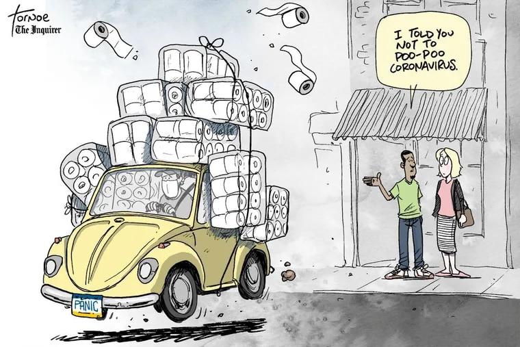 Rob Tornoe's coronavirus cartoon for Friday, March 13.