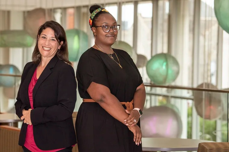 Sharon Herring of Temple University (left) and Saleemah McNeil of Maternal Wellness Village are leading a collaboration to study how having support from Black doulas, mental health services, and lactation consultants can improve heart health outcomes for pregnant Black women.