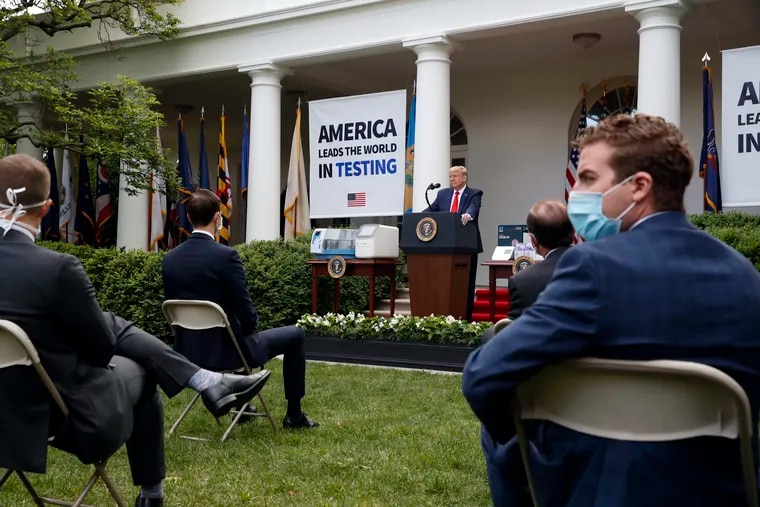 President Donald Trump during a news briefing in the Rose Garden of the White House on May 11, 2020.