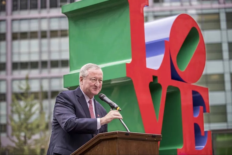 Mayor Jim Kenney address the crowd gathered at the  re-dedication of LOVE Park at 15th and JFK Blvd. in Center City Philadelphia.