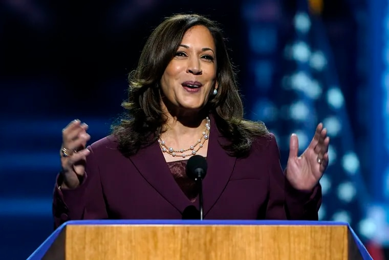Democratic vice presidential candidate Sen. Kamala Harris, D-Calif., speaks from Wilmington, Del., during the third day of the Democratic National Convention on Wednesday.