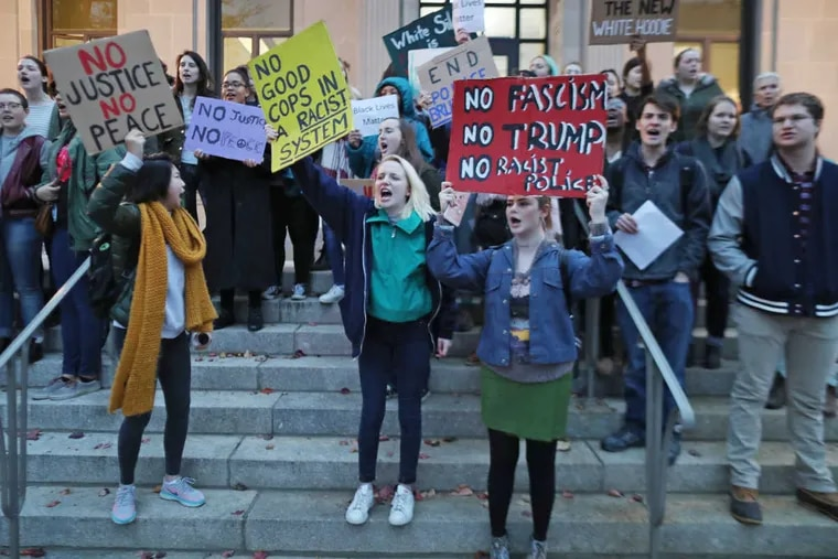 About 40 protesters walked and chanted from Haverford College to the Lower Merion Township building in Ardmore Wednesday November 16, 2016.