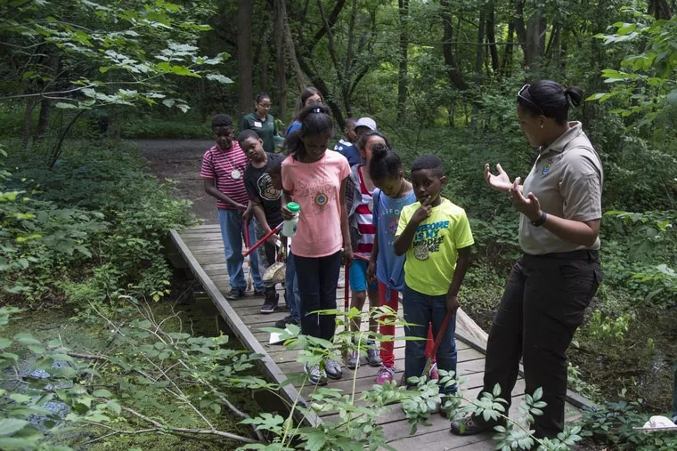 Brianna Patrick (right), environmental education supervisor at the Heinz Wildlife Refuge in Tinicum, leads a group of campers on a nature walk June 27, 2017. CLEM MURRAY / Staff Photographer