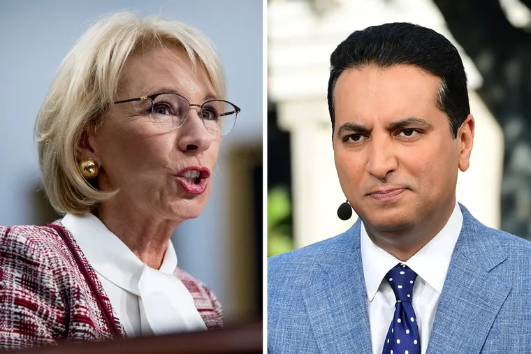 ESPN's Kevin Negandhi (right) responded to Education Secretary Betsy DeVos' proposed Special Olympics cuts with a thread on Twitter highlighting the many benefits of the program.
