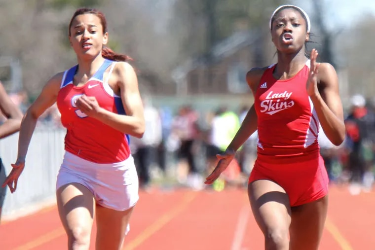 Neshaminy's Dasia Pressley (right) raced to victory ahead of Amy Hicks of Swenson during the Haverford Invitational last April at Haverford High.