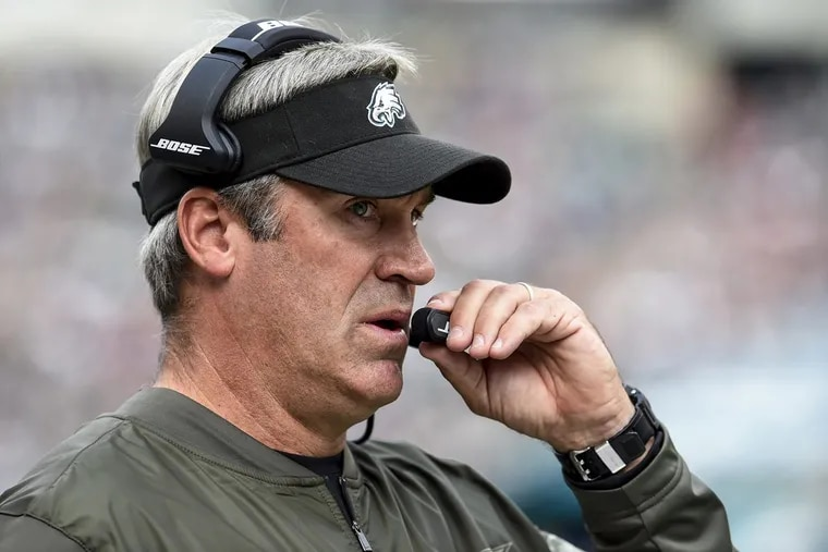 Eagles head coach Doug Pederson during the the game November 5, 2017 against the visiting Denver Broncos. The Eagles won 51-23.