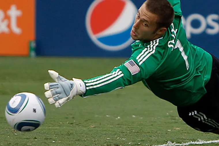 Keeper Chris Seitz and the Union and yet to post a shutout on the season. (AP Photo/Matt Slocum)