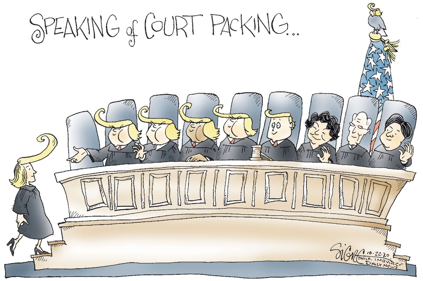 Caption:  Speaking of Court Packing.  Image:  Supreme Court with six justices croiffed like Donald Trump.