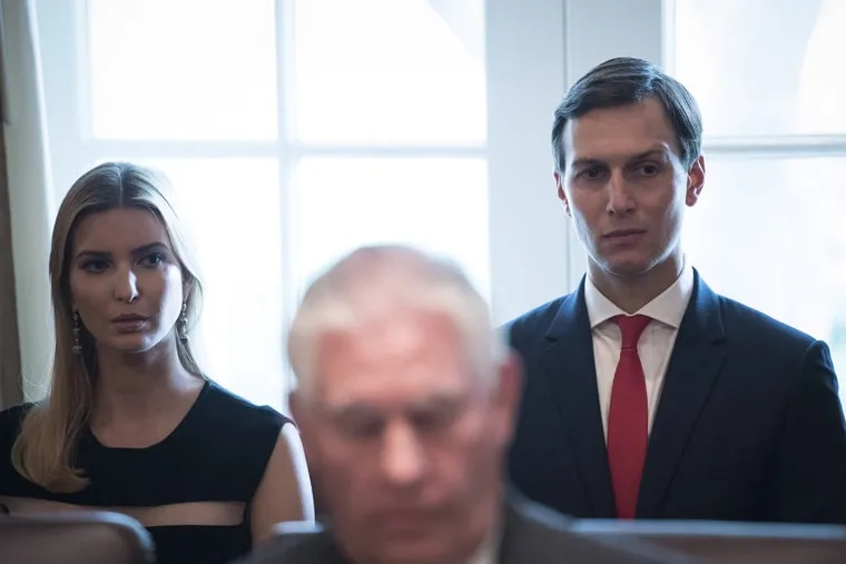 Ivanka Trump and husband Jared Kushner listen as President Donald Trump speaks during a Cabinet meeting at the White House on Oct. 16.