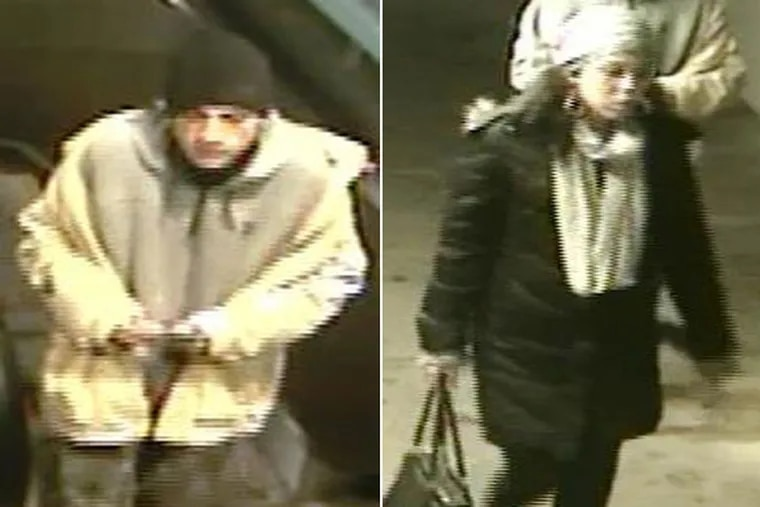 Police are searching for a man and a woman who allegedly robbed a sleeping SEPTA traveler.