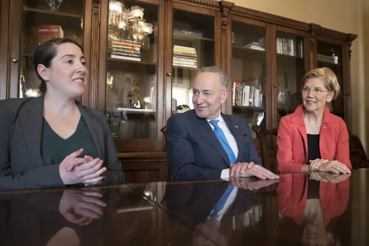 Leandra English meets  with Senate Minority Leader Chuck Schumer (D., N.Y.) and Sen. Elizabeth Warren (D., Mass.) to discuss the fight for control of the consumer protection agency.