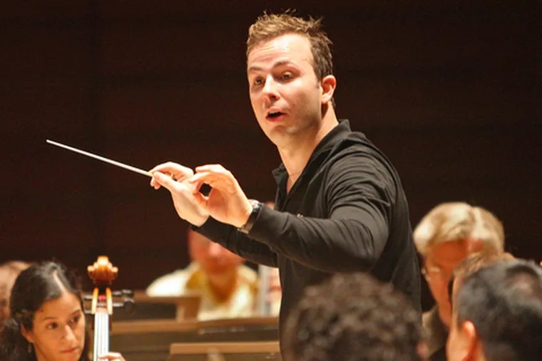Conductor Yannick Nézet-Séguin rehearses with the Philadelphia Orchestra.