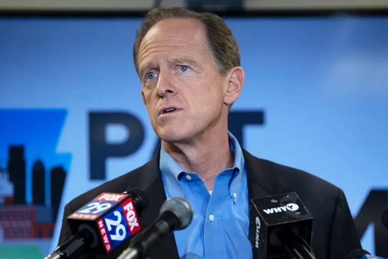 U.S. Sen. Pat Toomey (R-Pa.) speaks during a press conference at the U.S. Customs House on August 6, 2019 in Philadelphia. Toomey has come out against the new Canada and Mexico trade agreement backed by President Trump and House Speaker Nancy Pelosi, calling it inferior to the previous North American Free Trade Agreement, which Toomey says should have been updated, not scrapped