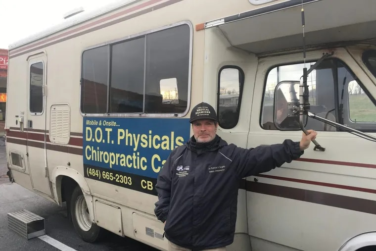 Patrick V. Suglia, 55, travels through Southeastern Pa. performing Department of Transportation physicals for truckers in his 1981 Winnebago.