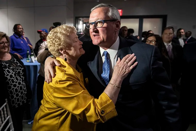 Mayor Jim Kenney is congratulated by his mother Barbara Kenney, after announcing victory in the primary election results, during a party at the National Museum of American Jewish History in Philadelphia, Pa. Tuesday, May 21, 2019,