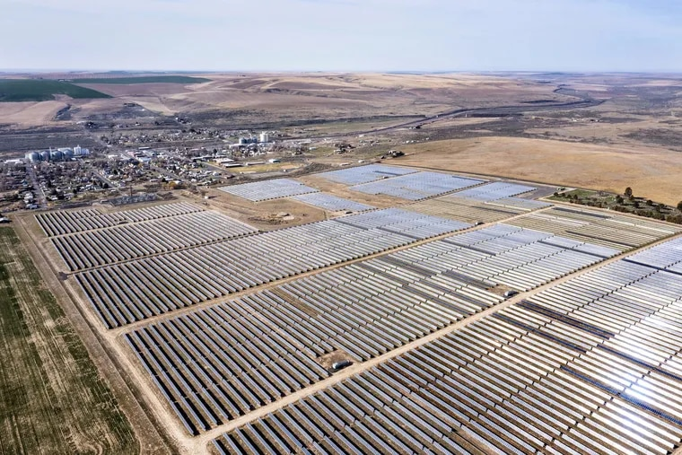 The Adams Nielson Solar Farm sits next to the town of Lind in central Washington state on Friday, April 2, 2021.  Called the Adams Nielson Solar Farm, it produces 28 megawatts of electricity from its 200 acres of solar panels, enough to power 4,000 homes. Solar projects are lining up in Pennsylvania.