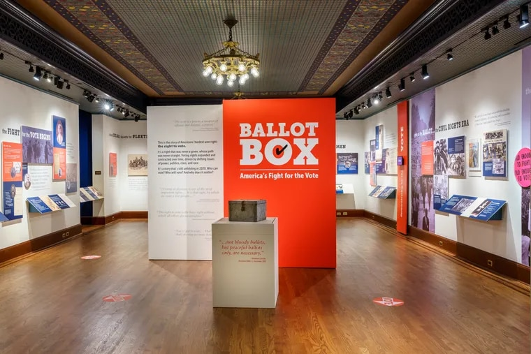 """The Union League Legacy Foundation posted advertisements for this history of voting rights exhibit on two Center City trash cans with the words """"BALLOT BOX."""" The foundation quickly realized its mistake, removed the ads, and hopes people still visit this exhibit."""