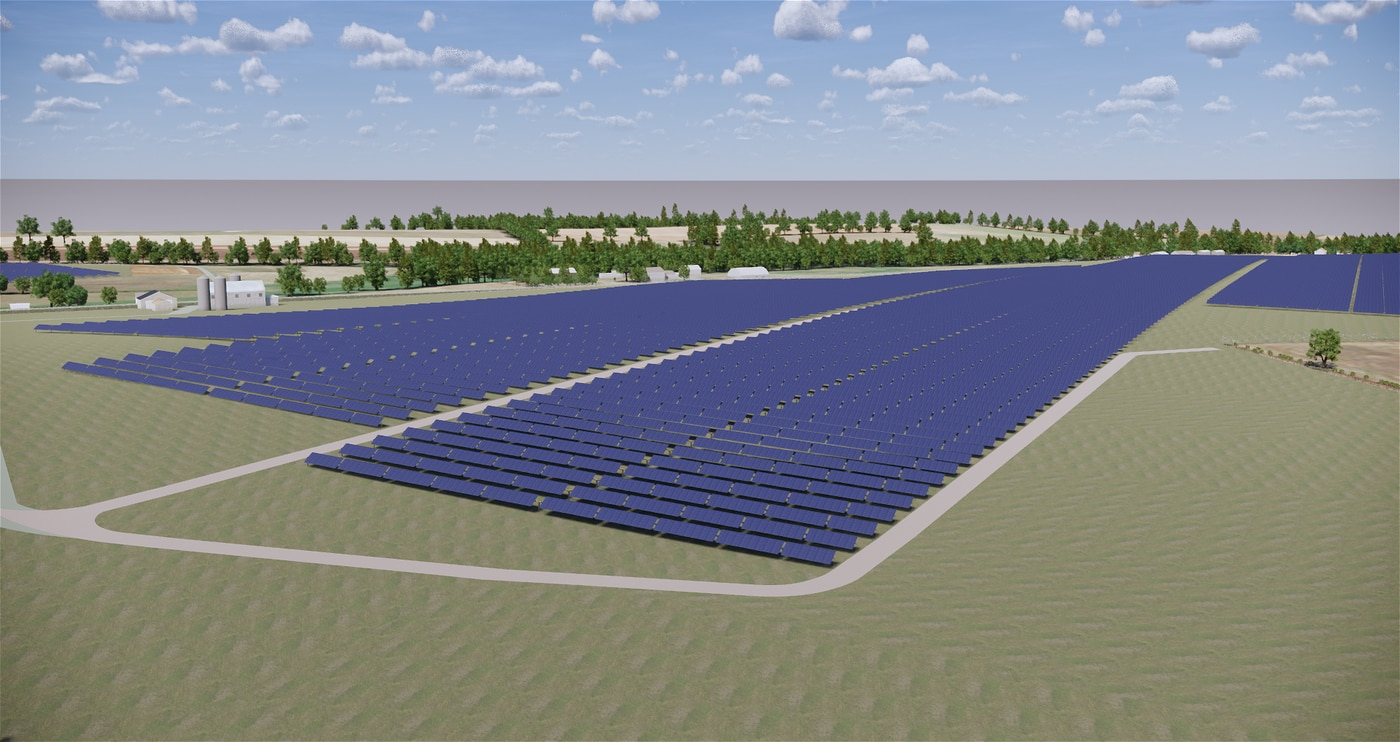 A rendering of the solar farm in Franklin County. The project will break ground in early September and should be completed by July 2020. Lightsource is constructing and managing the panels and then Penn State will buy the electricity from it.