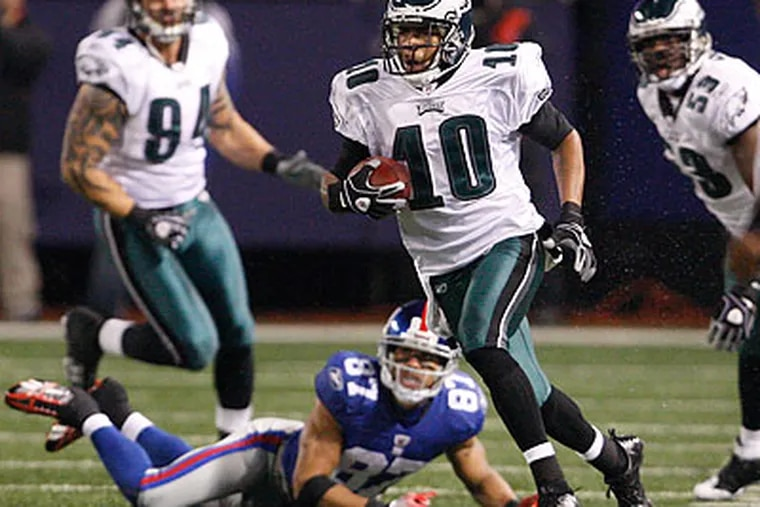 DeSean Jackson scored two of the Eagles' six touchdowns against the Giants. (Ron Cortes/Staff Photographer)