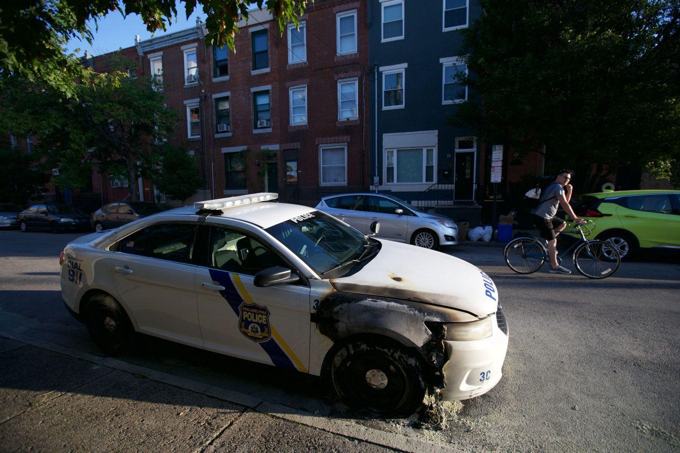 Police car burned in South Philadelphia
