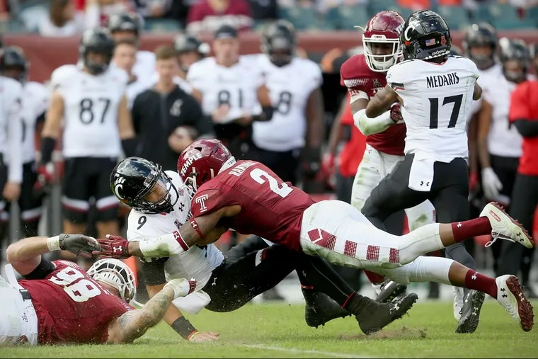 Temple safety Delvon Randall (2) played his last game for the Owls in Thursday's Independence Bowl loss.