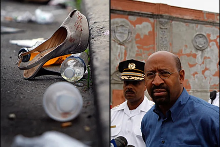 A blood-stained shoe rests at the curb outside the Felton Supper Club. At right, Mayor Michael Nutter pauses before a news conference on Sunday. (David Maialetti/Staff)