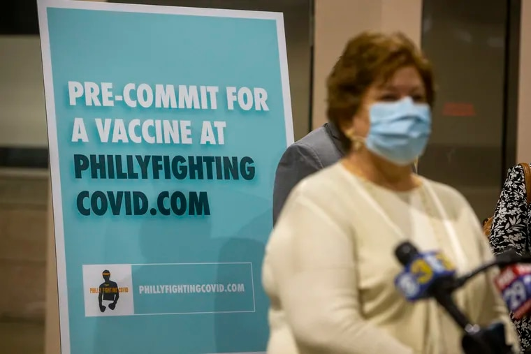 Dr. Caroline Johnson, deputy health commissioner of the Philadelphia Department of Public Health, makes a statement during press conference at Pennsylvania Convention Center for the opening of the vaccination site for Philly Fighting COVID on Jan. 8.