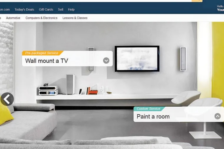 Examples of what Amazon Home Services can offer: painting a room and mounting a wall TV.