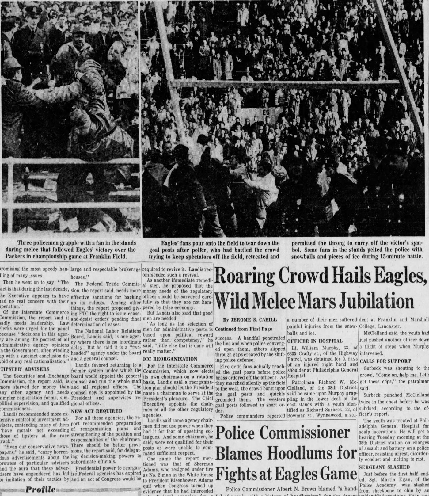 d6545386da8 Part of an inside page from the Inquirer the morning after the Eagles won  the 1960