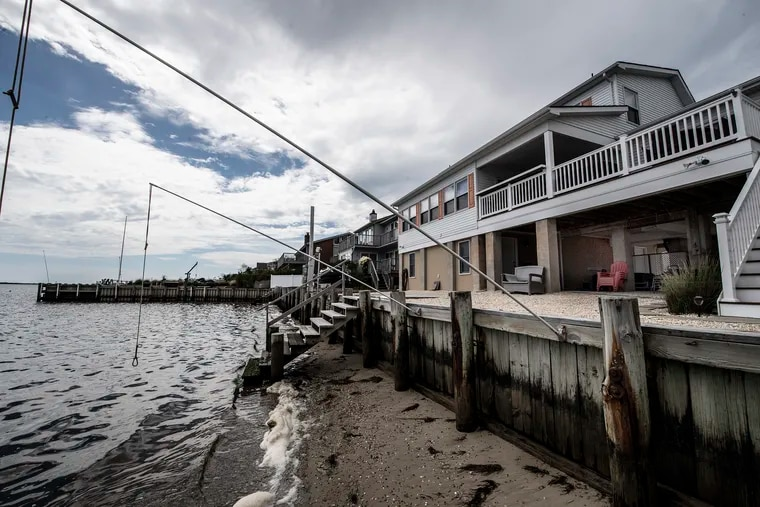 A lifted beachfront home in Beach Haven West, N.J.
