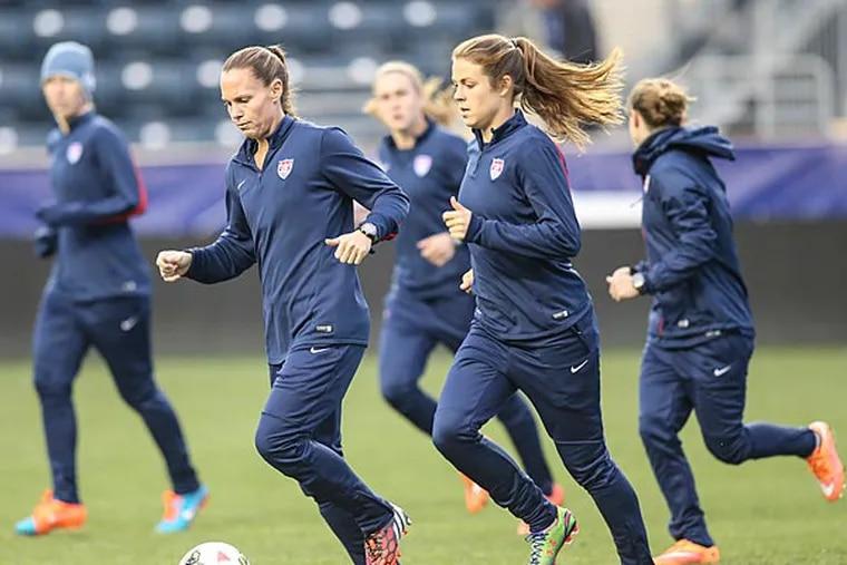 The U.S. women's soccer team practicing at PPL Park. (Steven M. Falk/Staff Photographer)