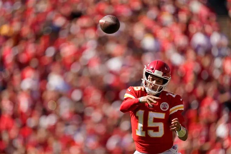 Chiefs quarterback Patrick Mahomes will present a tough challenge to the Eagles defense.