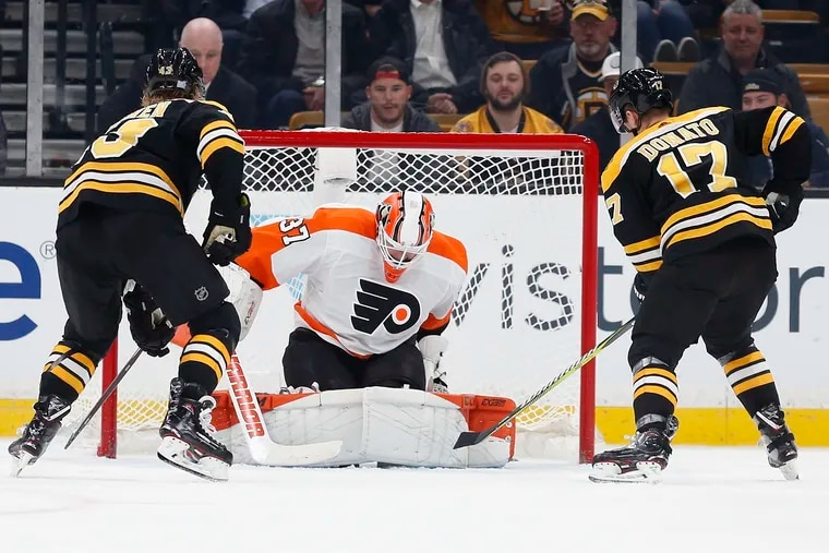 The Flyers' goalie corps entered Friday with the worst save percentage in the NHL.