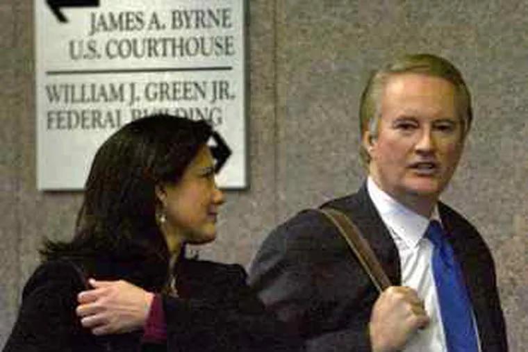 Dawn Stensland and husband Larry Mendte after his sentencing.