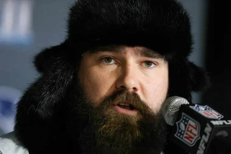 Jason Kelce, shown here during a Super Bowl press conference at the Super Bowl LII Media Center, got married over the weekend.