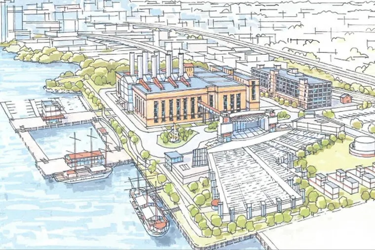This pencil sketch was submitted by Live Nation to the FIshtown Neighborhood Association at its June 5 meeting to discuss a new concert venue at the PECO generating station.