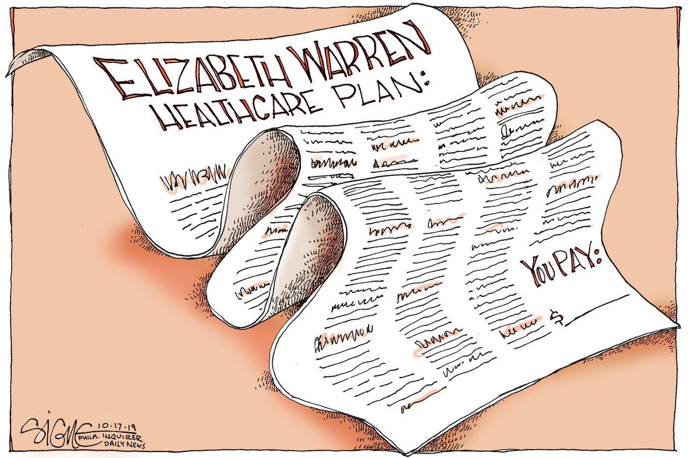 Political Cartoon: Elizabeth Warren's healthcare plan costs