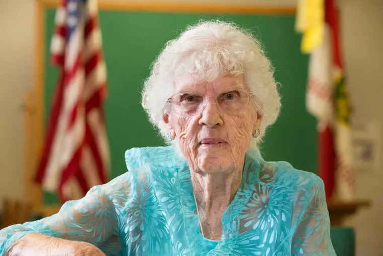 Ninety-six-year old Leona L. Paulus, shown here at the Pittsgrove Senior Center, will soon receive her high school diploma. Paulus dropped out of school when she was 13 years old to help out on the family farm during tough economic times.