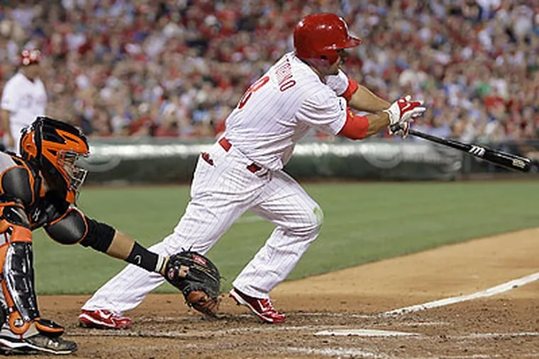Shane Victorino drove in two runs with a base hit in the sixth inning. (Yong Kim/Staff Photographer)