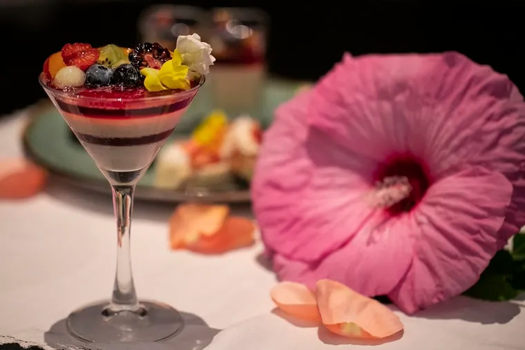 A white chocolate and hibiscus verrine dessert is photographed at the Liberté Lounge at the Sofitel Hotel in Center City. Hibiscus food and drinks are growing in popularity around Philadelphia.