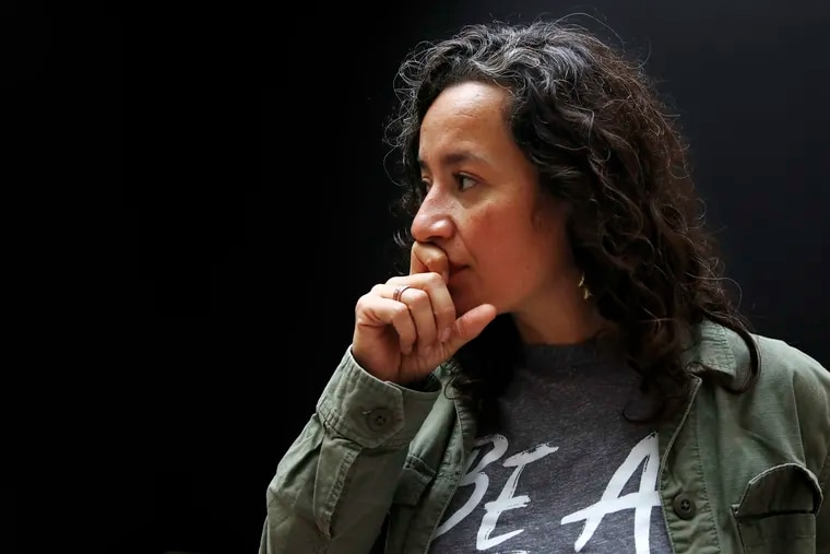 Ana Maria Archila, of New York City, co-executive director of the Center for Popular Democracy, pauses while being interviewed in Washington, Friday, Sept. 28, 2018, on Capitol Hill in Washington. Archila confronted Sen. Jeff Flake, R-Ariz., in an elevator after he announced his support for Supreme Court Justice nominee Brett Kavanaugh.