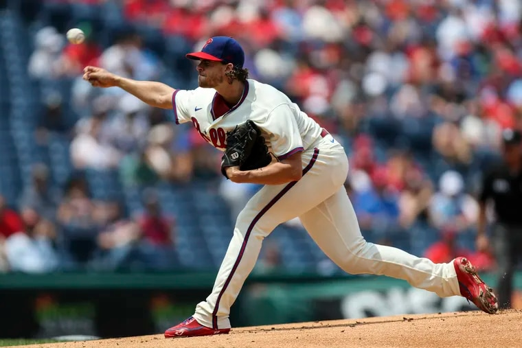Starting pitcher Aaron Nola threw 116 pitches and was one out shy of a complete game in the Phillies' 2-1 win over the Braves on Sunday, July 25, 2021.