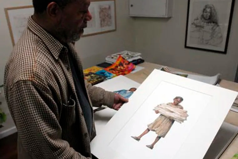 Jerry Pickney displays an illustration that will be used at the African American Burial Ground Interpretive Center in New York City. Below are illustrations from one of his new books.    (Ron Tarver / Staff Photographer)
