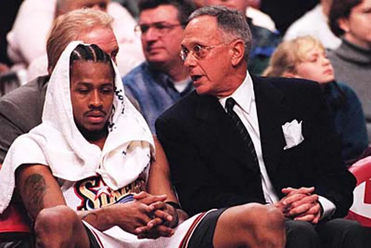 Coach Larry Brown (right) and star guard Allen Iverson went to the NBA Finals after winning Game 7 win over the Bucks in 2001.