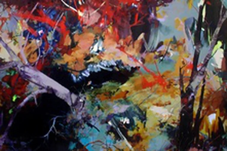 """Rebecca Saylor Sack's """"And Over,"""" oil on canvas, at Jenny Jaskey at Tower Gallery through Dec. 21."""
