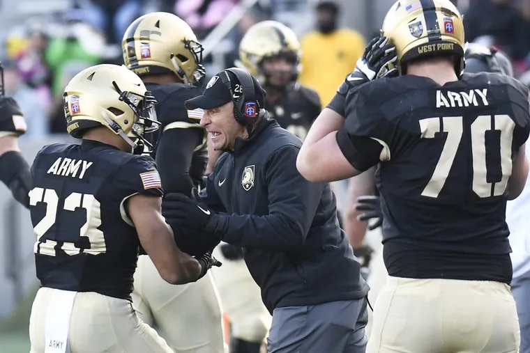 Army coach Jeff Monken instructs players during win over Duke in November.