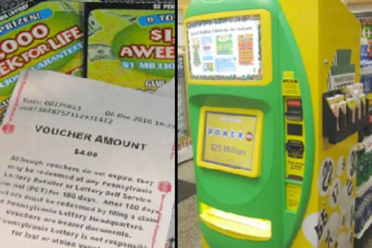 The Wawa lottery machine, at right, dishes out vouchers instead of cash when a ticket is redeemed or the player wants change. The vouchers can be spent on items or redeemed at the register. (Peter Mucha / Staff)